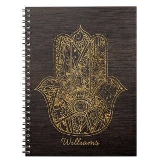 HAMSA räcker av design för Fatima symbolamulett Anteckningsbok Med Spiral