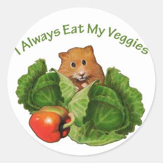 Hamster: Äta alltid min Veggies: Vård- Runt Klistermärke