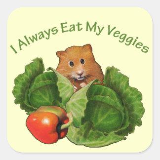 Hamster: Ungar: Jag äter alltid min Veggies: Fyrkantigt Klistermärke