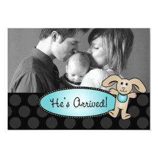 Han har ankommet pojkefödelsemeddelande 12,7 x 17,8 cm inbjudningskort
