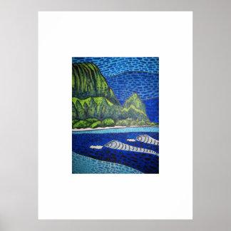 Hanalei fjärd Kauai. Högt Poster