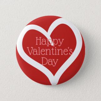 Hand plockadehjärta, redigerbart meddelande & röd standard knapp rund 5.7 cm