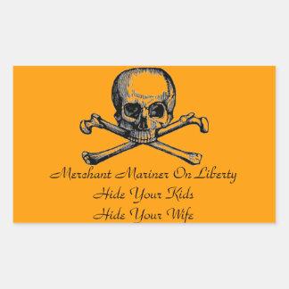 Handels- sjömanvarningsklistermärke rektangulärt klistermärke