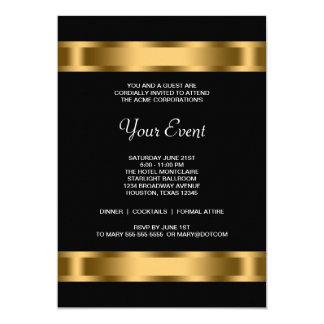 Händelse för party för svart guldsvart företags 12,7 x 17,8 cm inbjudningskort