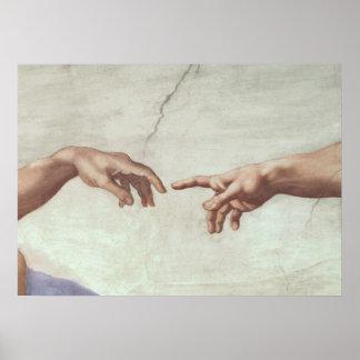 Händer av guden och Adam Poster
