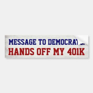 Händer av mitt politiska ekonomiskt 401k bildekal