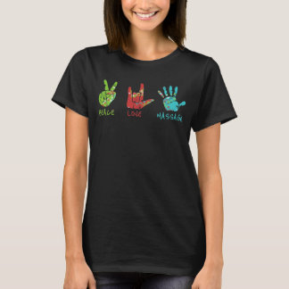 Händer för fredkärlekmassage - svart tee shirts