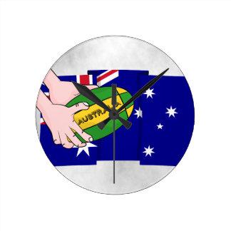 Händer för tecknad för boll för Australien Rund Klocka