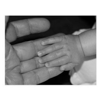 Händer i svartvitt vykort