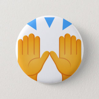 Händer lyftte Emoji Standard Knapp Rund 5.7 Cm