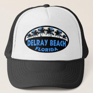 Handflatan för Delray Beach Florida blåttsvart Truckerkeps