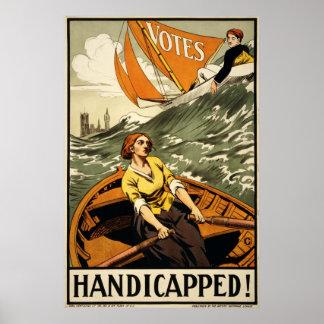 Handikappad vintagerösträttpropaganda poster