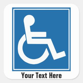 Handikappet undertecknar klistermärkear/etiketter fyrkantigt klistermärke