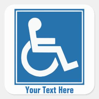 Handikappet undertecknar klistermärkear fyrkantigt klistermärke