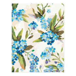 handpainted ljust - blåa blommor vykort