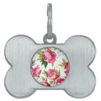 handpainted steg blommor ID-bricka husdjur