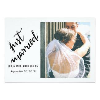 Handskrivet bröllopfoto för modern ny gifta 12,7 x 17,8 cm inbjudningskort