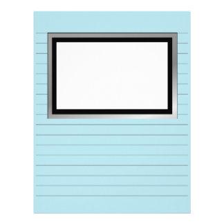 Handstilpapper med linjer och bilden boxas brevhuvud