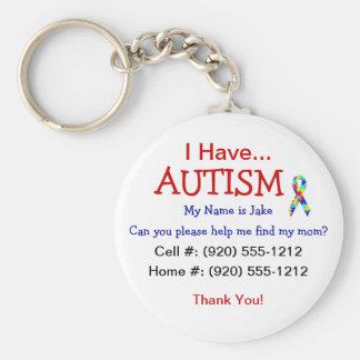 Handtag för Zipper för Autismbarnlegitimation Rund Nyckelring