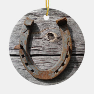 Hängande julaftonhänge för lantlig rostig hästsko rund julgransprydnad i keramik