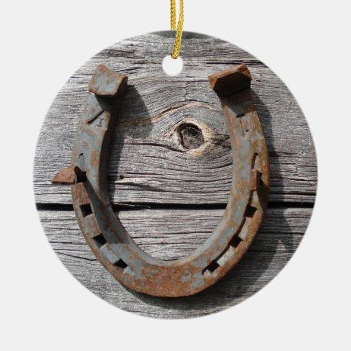 Hängande julaftonhänge för lantlig rostig hästsko julgranskulor