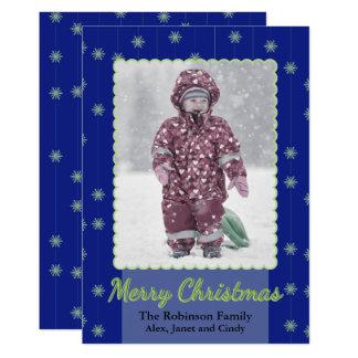 Hängande kort för snöflingorjulfoto 12,7 x 17,8 cm inbjudningskort