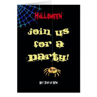 Hängande spindel Halloween Hälsningskort