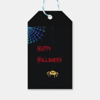Hängande spindel Halloween Presentetikett