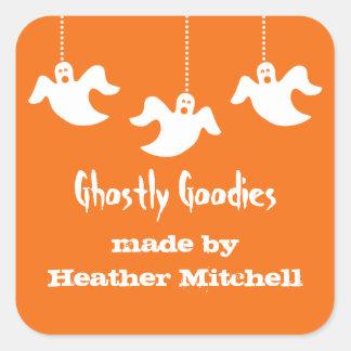 Hängande spökenHalloween stekheta klistermärkear, Fyrkantigt Klistermärke