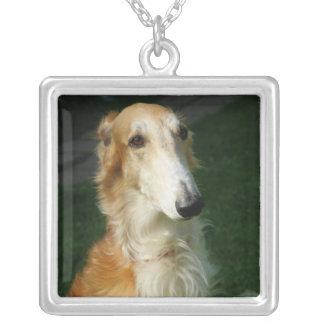 Hänge för foto för Borzoihund härligt, halsband