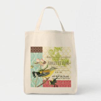 Hänger lös den franska fågeltotot för modern vinta tote bag