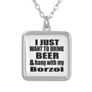 Hängning med min Borzoi Halsband Med Fyrkantigt Hängsmycke