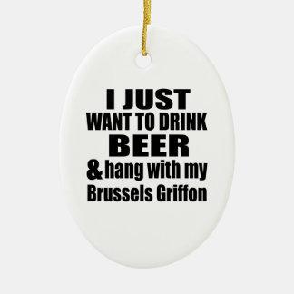 Hängning med min Bryssel Griffon Julgransprydnad Keramik