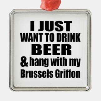 Hängning med min Bryssel Griffon Julgransprydnad Metall