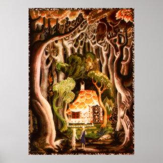 Hansel och Gretel vid det Kay Nielsen trycket Poster