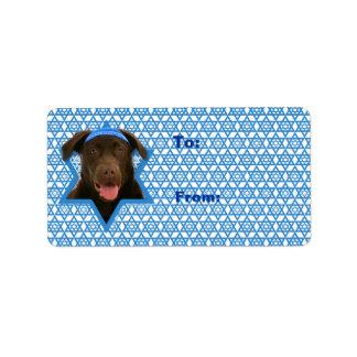 Hanukkah davidsstjärna - choklad Labrador Adressetikett