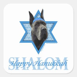 Hanukkah davidsstjärna - great dane - grå färg fyrkantigt klistermärke