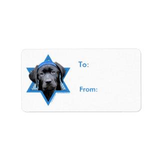 Hanukkah davidsstjärna - svart Labrador Adressetikett