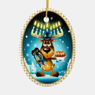 Hanukkah ren ovalformad julgransprydnad i keramik