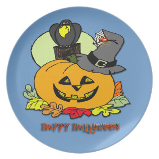 Happy halloween - pumpa, kråka pläterar tallrik