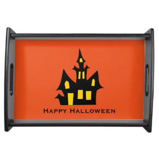 Happy halloween spökat hus frukostbricka