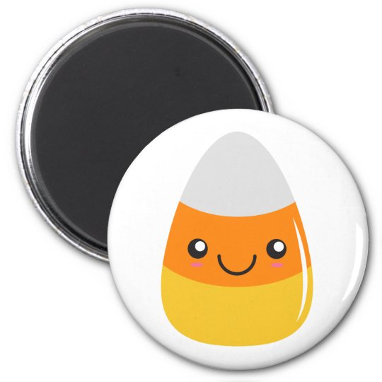 Happy halloweencandy corn Emoji Magnet Rund 5.7 Cm
