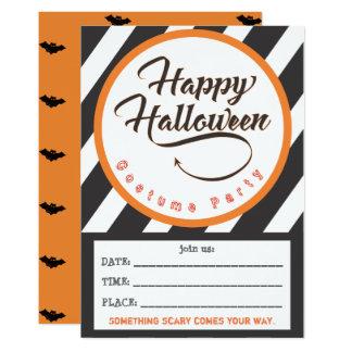 Happy halloweendelinbjudan - fladdermösstema 12,7 x 17,8 cm inbjudningskort