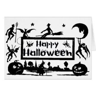 Happy halloweenelakt trollsilhouetten tillfogar hälsningskort