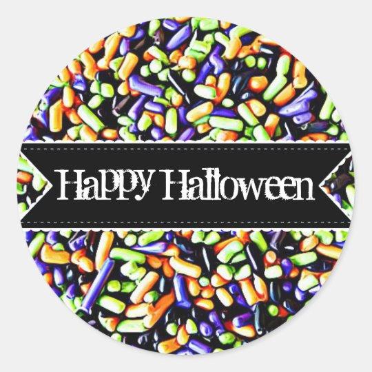 Happy halloweengodisen strilar klistermärkear runt klistermärke
