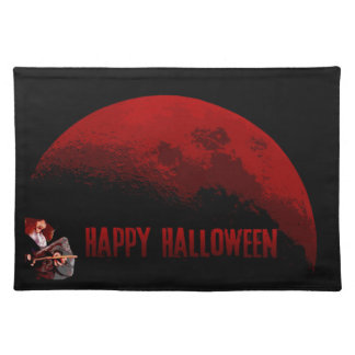 Happy halloweenhäxa- och månebordstablett bordstablett