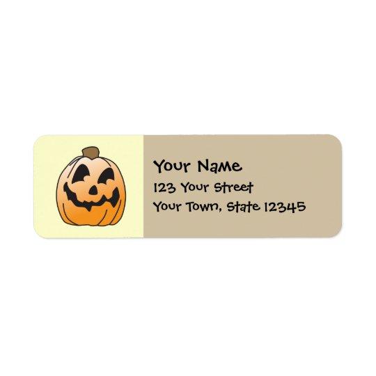 Happy halloweenjack o lantern returadress etikett