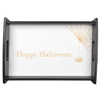 Happy halloweenspindel serveringsbricka