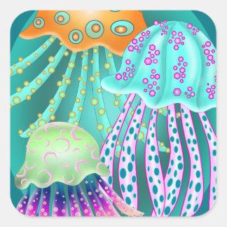 Happy Jellyfish Fyrkantigt Klistermärke