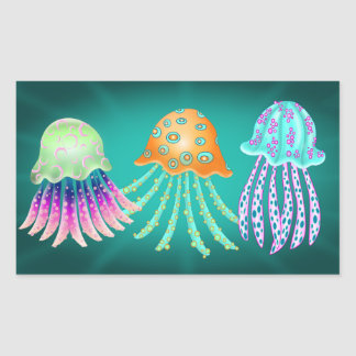 Happy Jellyfish Rektangulärt Klistermärke
